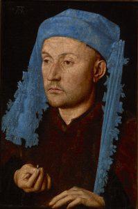 Jan van Eyck: 'Man met een blauwe tulband', uit circa 1430.