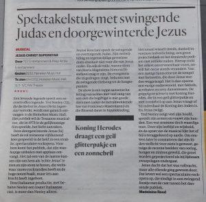 Recensie over 'Jesus Christ Superstar' in Het Parool. 16-12-2016.