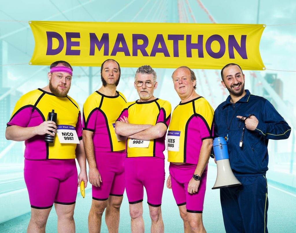 De hoofdrolspelers in De Marathon. Vlnr: Dennis Willekens, Kees Boot, John Buijsman, Michiel Nooter en Gürkan Küçüksentürk.