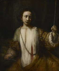 """""""Zelfmoord van Lucretia"""" door Rembrandt. Olieverf op doek, 1666. Minneapolis Institue of Art, Minneapolis."""