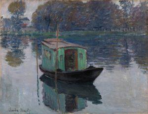Claude Monet, De schildersboot, 1874, Coll. Kröller-Müller Museum, Otterlo. Te zien op de expositie 'Daubigny, Monet, Van Gogh. Impressies van het landschap'.
