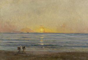 Charles-François Daubigny (1817-1878), Ondergaande zon bij Villerville, c. 1876. De Mesdag Collectie, Den Haag. Te zien op de expositie 'Daubigny, Monet, Van Gogh. Impressies van het landschap'.